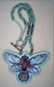 Aqua insect necklace