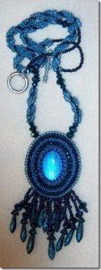 Blue fringe necklace